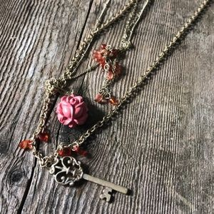 Maurice's Triple chain Boho  Rose necklace (NWT)